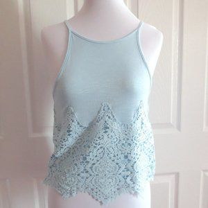 About A Girl Light Blue Lace Tank Top